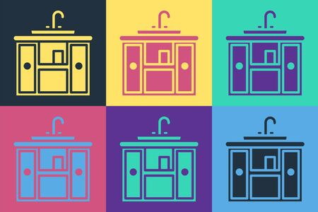 Pop art Washbasin cabinet with water tap icon isolated on color background. Vector Illustration Ilustrace
