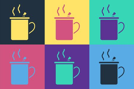 Pop art Mulled wine with glass of drink and ingredients icon isolated on color background. Cinnamon stick, clove, lemon slice. Vector Illustration