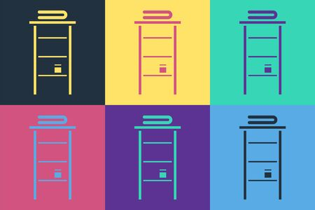 Pop art Bathroom rack with shelves for towels icon isolated on color background. Furniture object for bath room interior. Vector Illustration Ilustrace