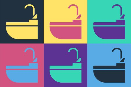Pop art Washbasin with water tap icon isolated on color background. Vector Illustration Ilustrace