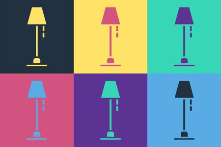 Pop art Floor lamp icon isolated on color background. Vector Illustration Illustration