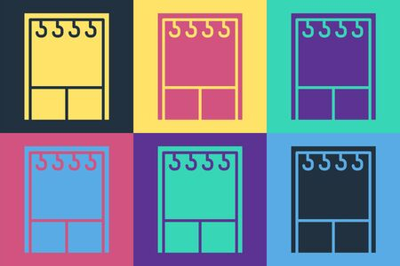 Pop art Wardrobe icon isolated on color background. Vector Illustration