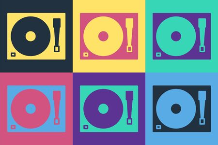 Pop art Vinyl player with a vinyl disk icon isolated on color background. Vector Illustration