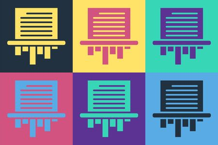 Pop art Paper shredder confidential and private document office information protection icon isolated on color background. Vector Illustration