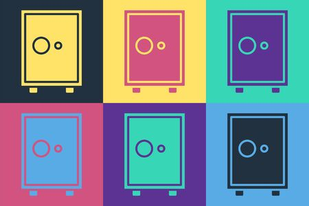 Pop art Safe icon isolated on color background. The door safe a bank vault with a combination lock. Reliable Data Protection. Vector Illustration Vettoriali