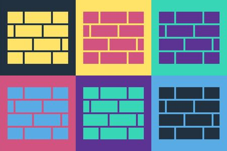 Pop art Bricks icon isolated on color background. Vector Illustration