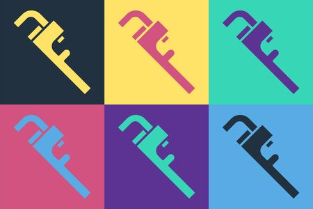 Pop art Pipe adjustable wrench icon isolated on color background. Vector Illustration Ilustração