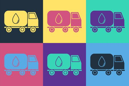 Pop art Water delivery truck icon isolated on color background. Vector Illustration