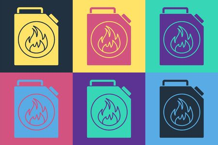 Pop art Canister for flammable liquids icon isolated on color background. Oil or biofuel, explosive chemicals, dangerous substances. Vector Illustration