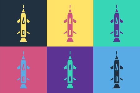 Pop art Rocket icon isolated on color background. Vector Illustration