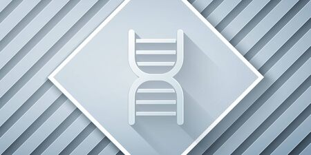 Paper cut DNA symbol icon isolated on grey background. Paper art style. Vector Illustration