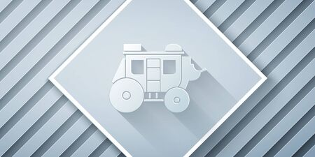 Paper cut Western stagecoach icon isolated on grey background. Paper art style. Vector Illustration Ilustracja