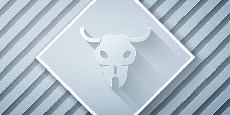 Paper cut Buffalo skull icon isolated on grey background. Paper art style. Vector Illustration