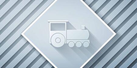 Paper cut Retro train icon isolated on grey background. Public transportation symbol. Paper art style. Vector Illustration