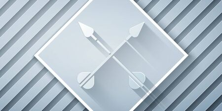 Paper cut Crossed arrows icon isolated on grey background. Paper art style. Vector Illustration