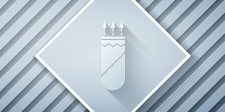 Paper cut Quiver with arrows icon isolated on grey background. Paper art style. Vector Illustration
