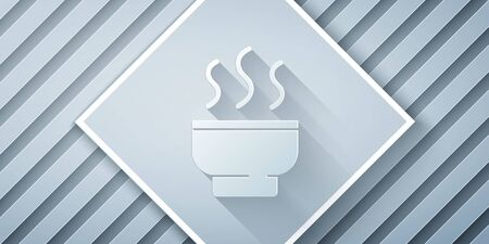 Paper cut Traditional Chinese tea ceremony icon isolated on grey background. Teapot with cup. Paper art style. Vector Illustration
