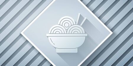 Paper cut Asian noodles in bowl and chopsticks icon isolated on grey background. Street fast food. Korean, Japanese, Chinese food. Paper art style. Vector Illustration Ilustrace