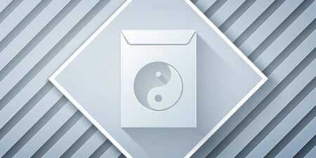Paper cut Yin Yang and envelope icon isolated on grey background. Symbol of harmony and balance. Paper art style. Vector Illustration