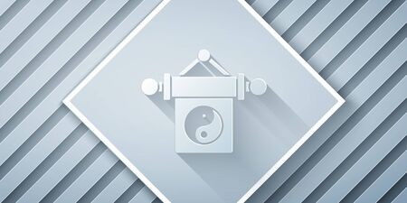 Paper cut Yin Yang symbol of harmony and balance icon isolated on grey background. Paper art style. Vector Illustration