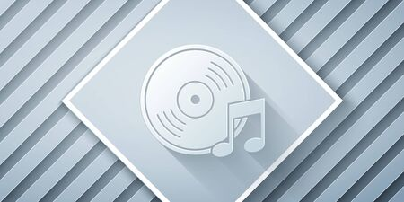 Paper cut Vinyl disk icon isolated on grey background. Paper art style. Vector Illustration