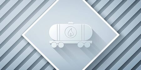 Paper cut Oil railway cistern icon isolated on grey background. Train oil tank on railway car. Rail freight. Oil industry. Paper art style. Vector Illustration Stock Illustratie