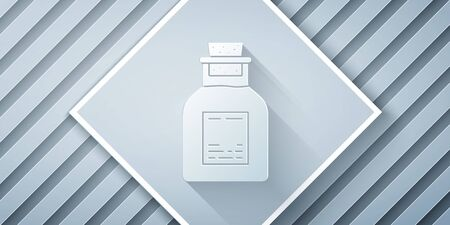 Paper cut Oil petrol test tube icon isolated on grey background. Paper art style. Vector Illustration Stock Illustratie