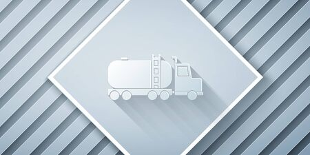 Paper cut Tanker truck icon isolated on grey background. Petroleum tanker, petrol truck, cistern, oil trailer. Paper art style. Vector Illustration