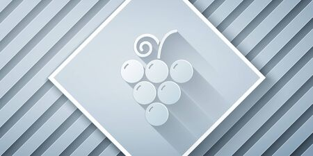 Paper cut Grape fruit icon isolated on grey background. Paper art style. Vector Illustration