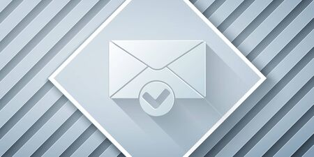 Paper cut Envelope and check mark icon isolated on grey background. Successful e-mail delivery, email delivery confirmation. Paper art style. Vector Illustration Stock Illustratie