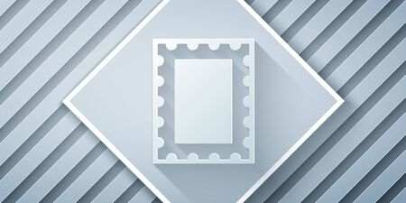 Paper cut Postal stamp icon isolated on grey background. Paper art style. Vector Illustration
