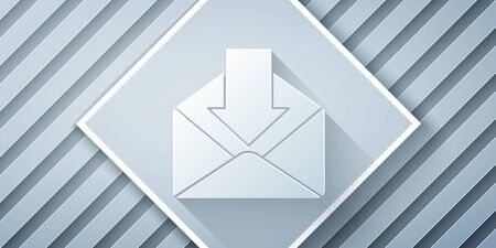 Paper cut Envelope icon isolated on grey background. Received message concept. New, email incoming message, sms. Mail delivery service. Paper art style. Vector Illustration