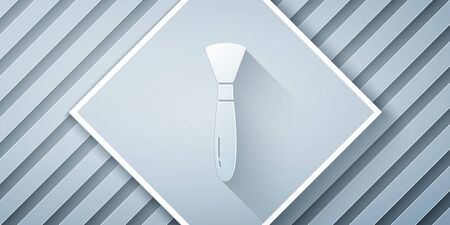 Paper cut Paint brush icon isolated on grey background. Paper art style. Vector Illustration