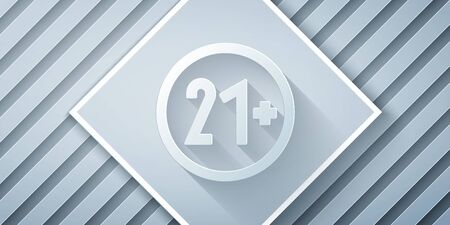 Paper cut 21 plus icon isolated on grey background. Adults content icon. Paper art style. Vector Illustration