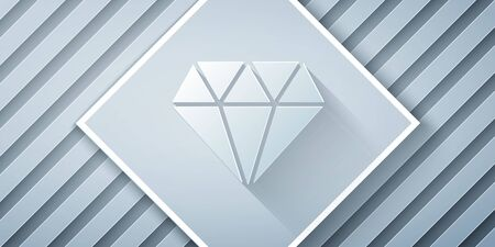 Paper cut Diamond icon isolated on grey background. Jewelry symbol. Gem stone. Paper art style. Vector Illustration Ilustrace