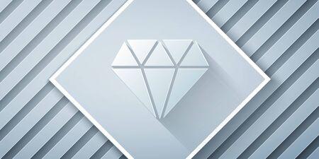 Paper cut Diamond icon isolated on grey background. Jewelry symbol. Gem stone. Paper art style. Vector Illustration Illustration