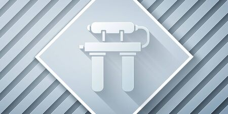 Paper cut Water filter icon isolated on grey background. System for filtration of water. Reverse osmosis system. Paper art style. Vector Illustration