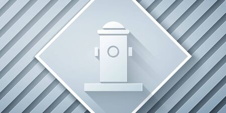 Paper cut Fire hydrant icon isolated on grey background. Paper art style. Vector Illustration