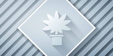 Paper cut Medical marijuana or cannabis plant in pot icon isolated on grey background. Marijuana growing concept. Hemp potted plant. Paper art style. Vector Illustration Ilustrace