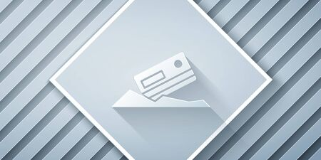 Paper cut Cocaine and credit card icon isolated on grey background. Paper art style. Vector Illustration