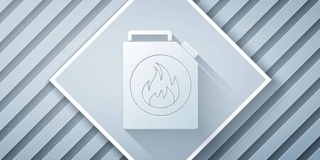 Paper cut Canister for flammable liquids icon isolated on grey background. Oil or biofuel, explosive chemicals, dangerous substances. Paper art style. Vector Illustration