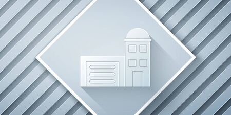 Paper cut Building of fire station icon isolated on grey background. Fire department building. Paper art style. Vector Illustration