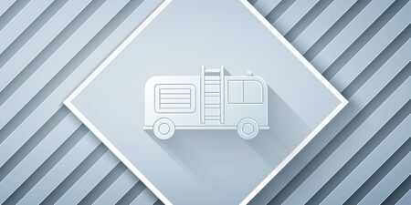 Paper cut Fire truck icon isolated on grey background. Fire engine. Firefighters emergency vehicle. Paper art style. Vector Illustration