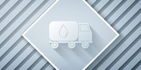 Paper cut Water delivery truck icon isolated on grey background. Paper art style. Vector Illustration