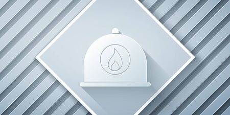 Paper cut Firefighter helmet or fireman hat icon isolated on grey background. Paper art style. Vector Illustration