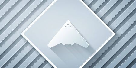 Paper cut Jet fighter icon isolated on grey background. Military aircraft. Paper art style. Vector Illustration Çizim