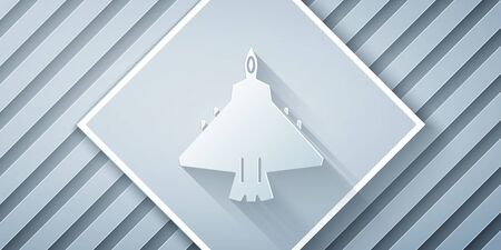 Paper cut Jet fighter icon isolated on grey background. Military aircraft. Paper art style. Vector Illustration Illustration