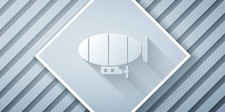 Paper cut Airship icon isolated on grey background. Paper art style. Vector Illustration Çizim