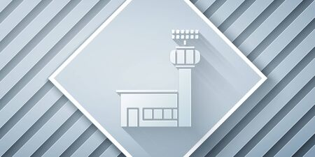 Paper cut Airport control tower icon isolated on grey background. Paper art style. Vector Illustration