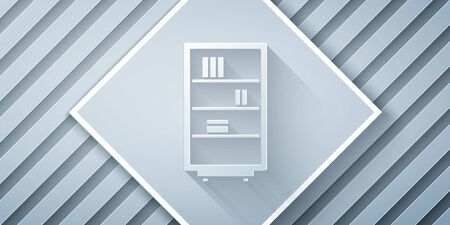 Paper cut Library bookshelf icon isolated on grey background. Paper art style. Vector Illustration
